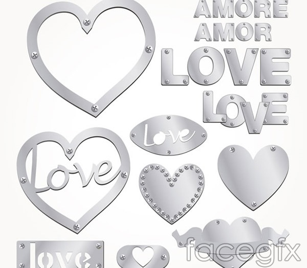 Silver love and word art vector