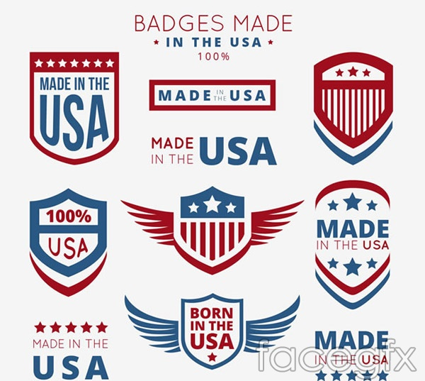 United States manufacturing labels vector