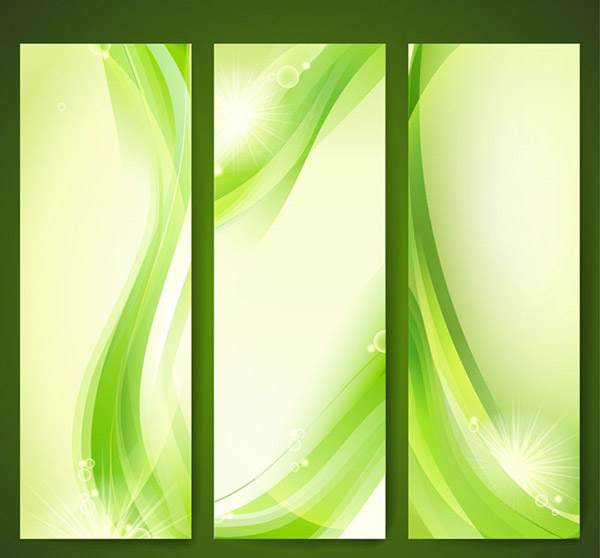 Green curve banner vector