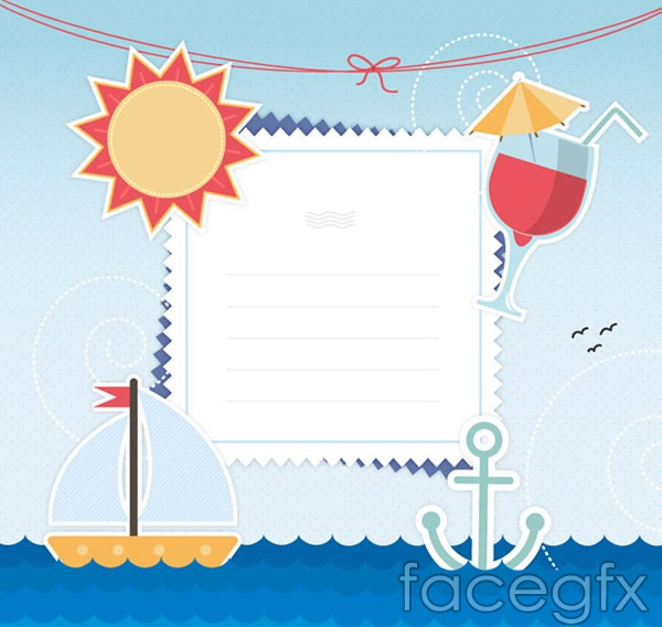 Nautical decorative elements note vector