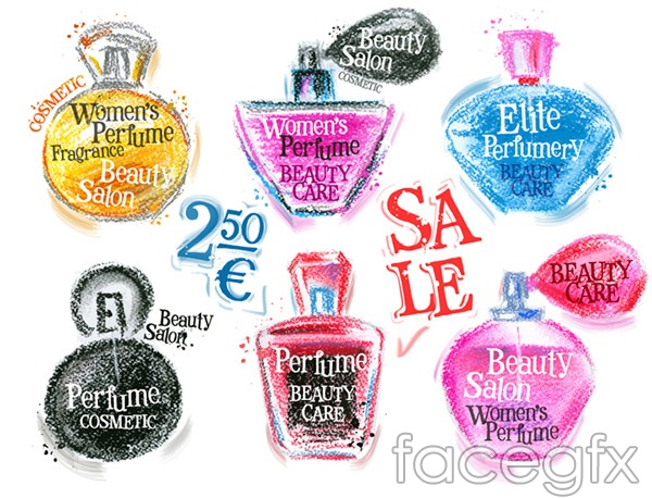 Hand-painted perfume promotional poster vector