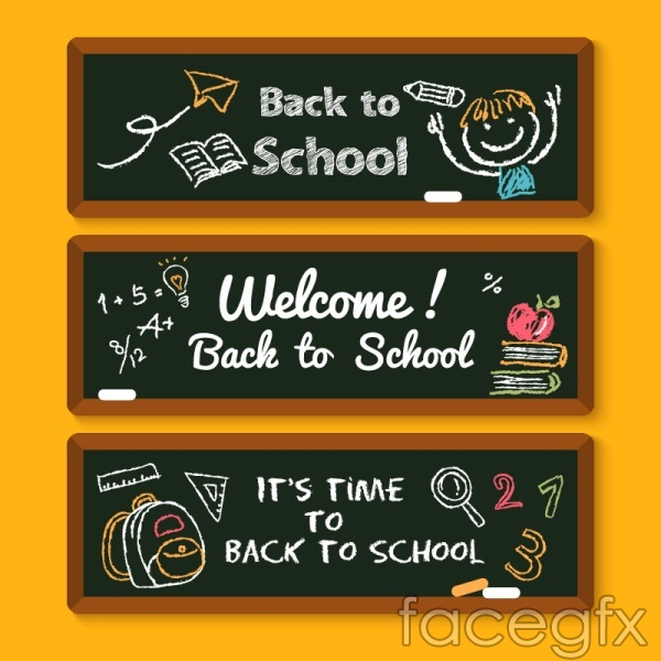Welcome back to school hand-painted banners vector