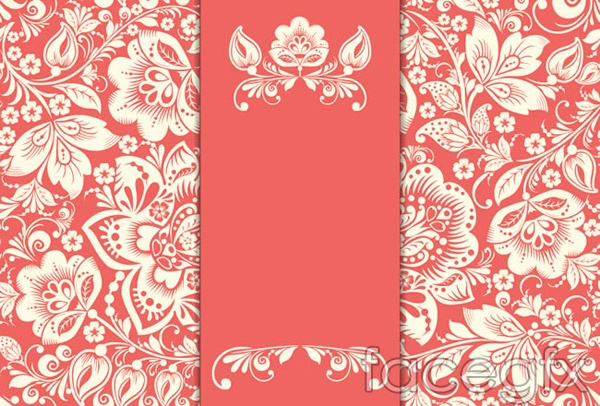 White flowers and red cards vector