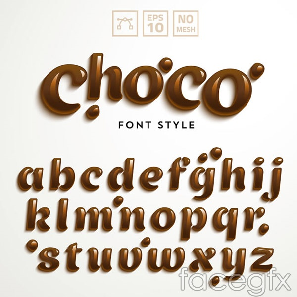 Chocolate letters vector