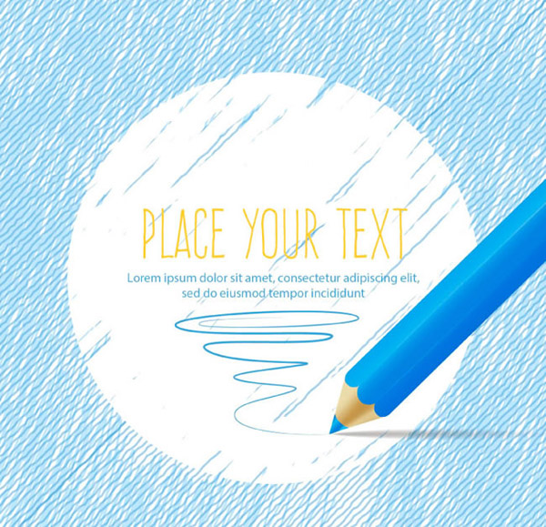 Colored pencil text background vector