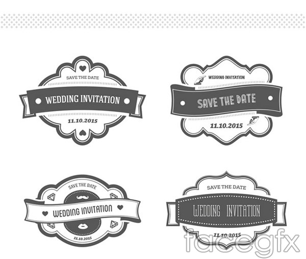 Retro wedding invitation labels vector