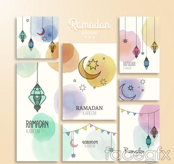 Watercolor Ramadan cards vector