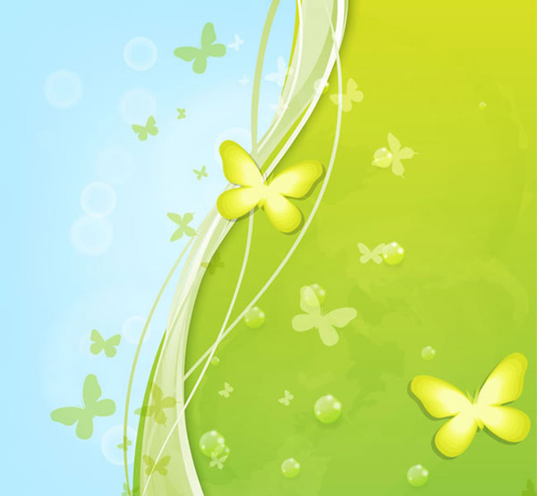 Fresh Green Butterfly background vector