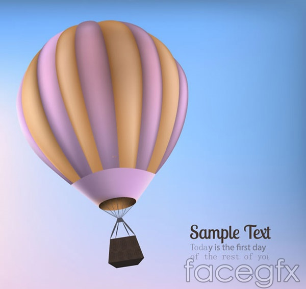 Hot air balloon text background vector