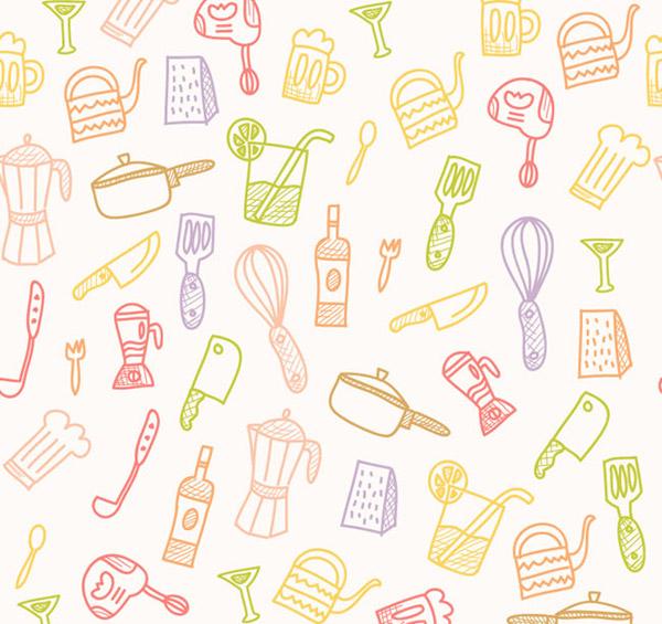 Kitchen supplies seamless background vector