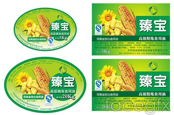 Corn oil packaging labels vector