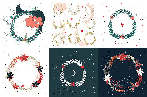 Fashion flower wreaths vector