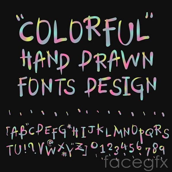 Gradient handwritten letters vector