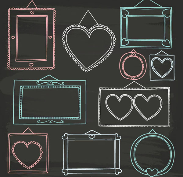 Hand painted photo frame vector