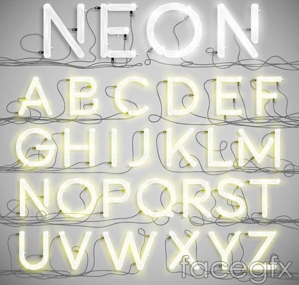 Neon alphabet vector