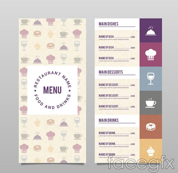 One-page menu design vector