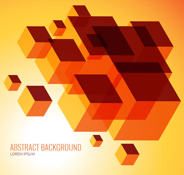 Orange cube background vector