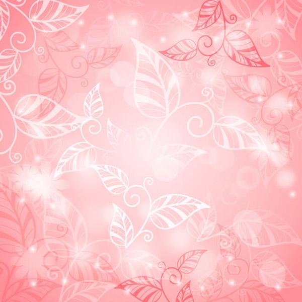 Pink leaf pattern background vector