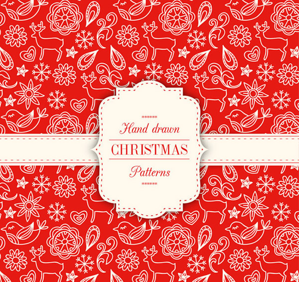 Red Christmas seamless backgrounds vector