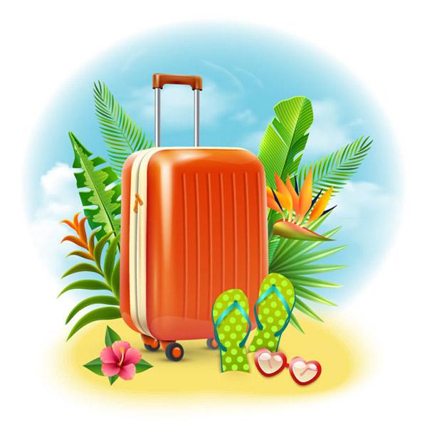Summer travel case illustrations vector