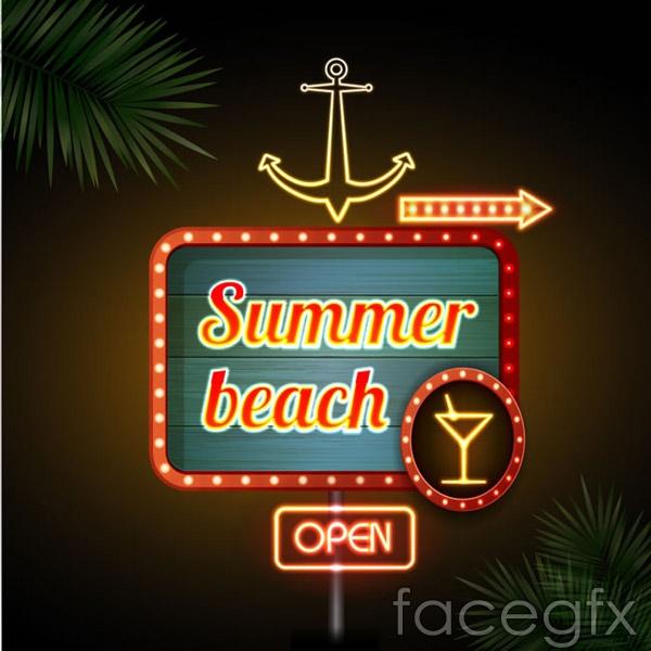 Beach bar neon sign vector