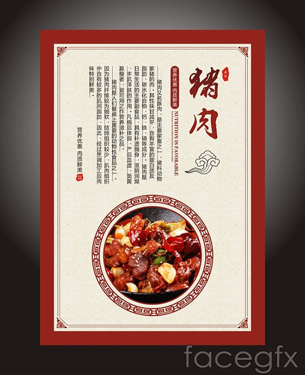 Chinese style pork poster vector