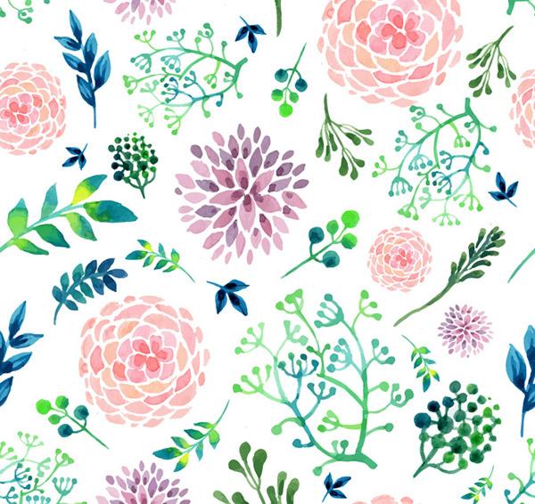 Flower and leaf background vector