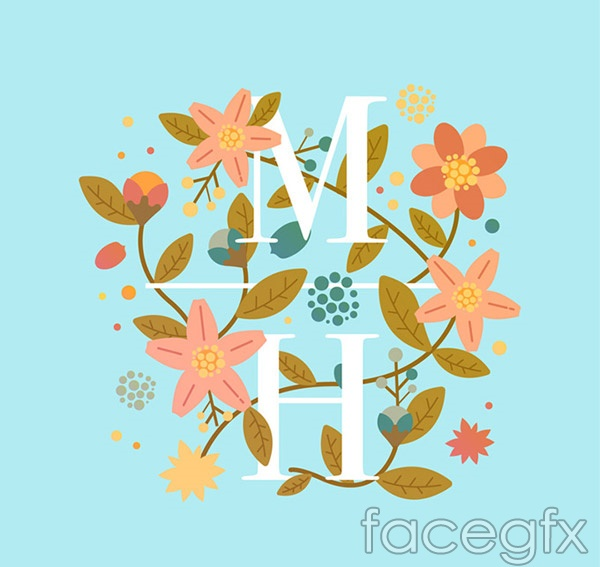 Wedding floral art vector