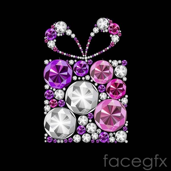 Color Diamond gift box vector