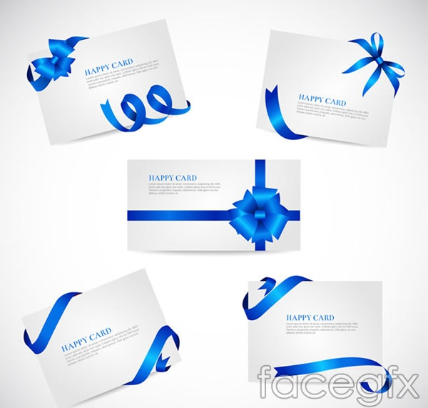 Blue Ribbon cards vector