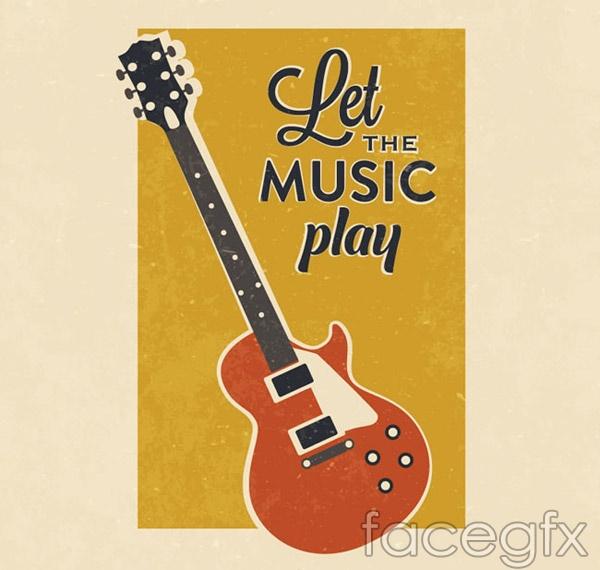 Vintage Guitar poster vector