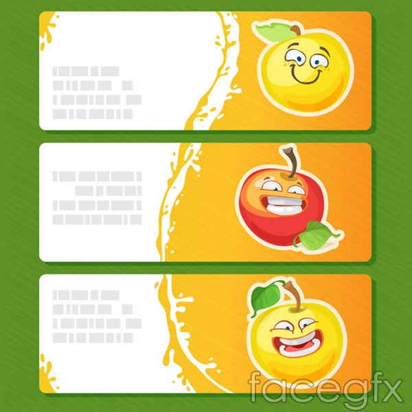 Cartoon fruit banner vector