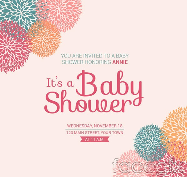 Flower baby party poster vector