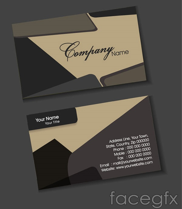 grey business card template vector free download