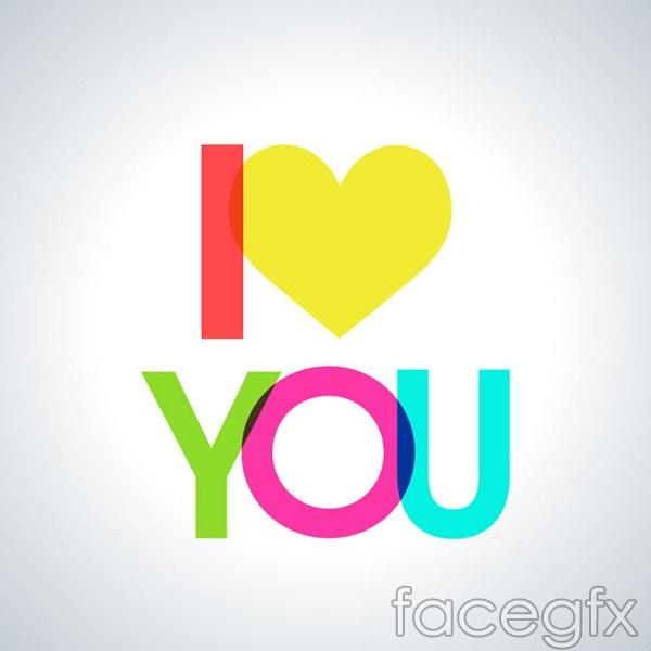 Love you word art-vector