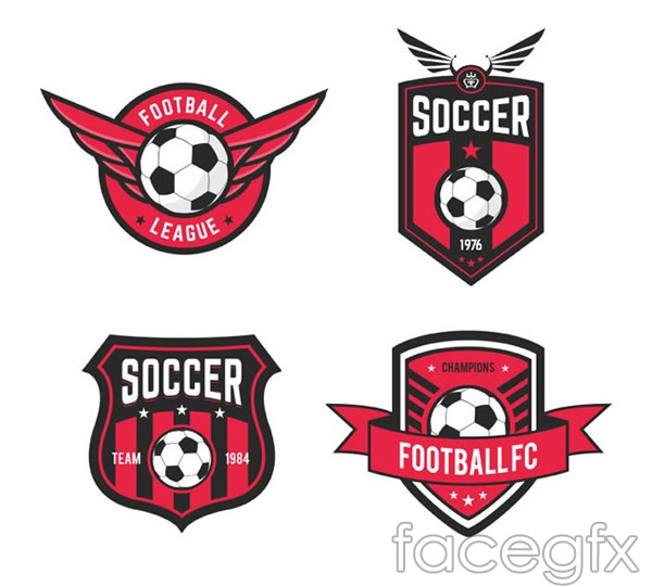 Football Red labels vector