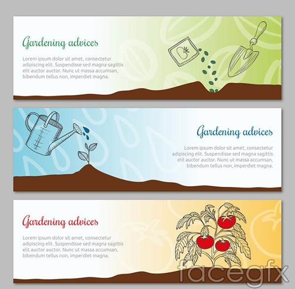 Gardening elements banner vector