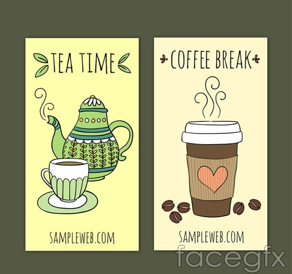 Hand-painted beverages banner vector