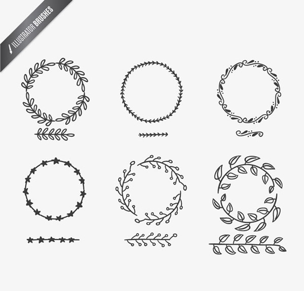 Hand-painted branches and rings vector