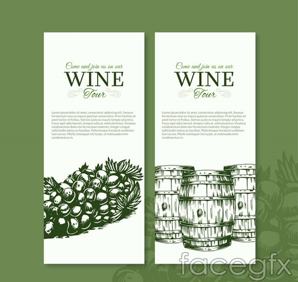 Hand-painted wine banne vector