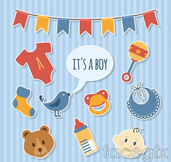 Welcome baby party decoration elements vector