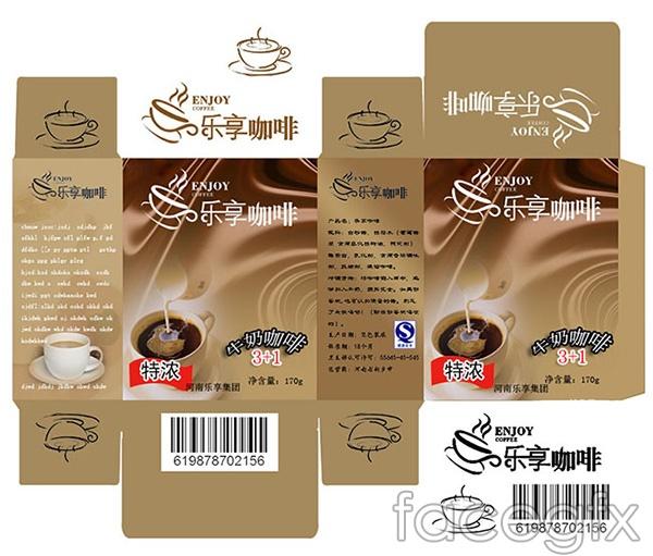 Enjoy coffee with milk packaging vector