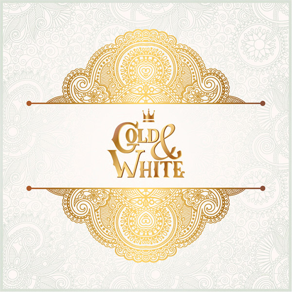 Golden lace pattern background vector