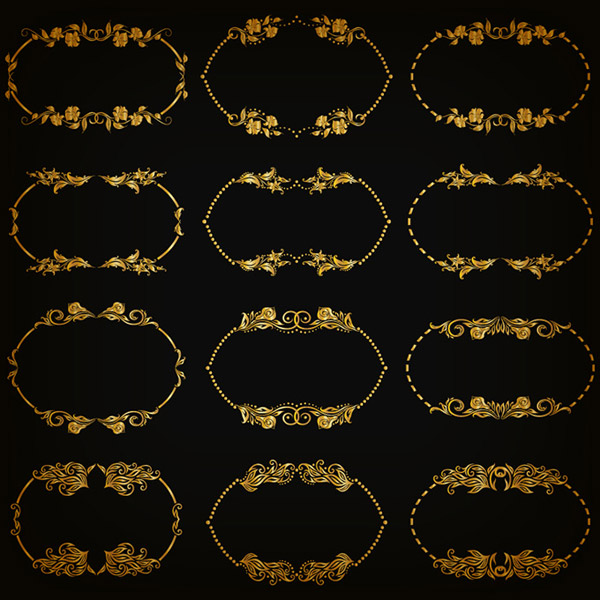 Golden pattern border vector