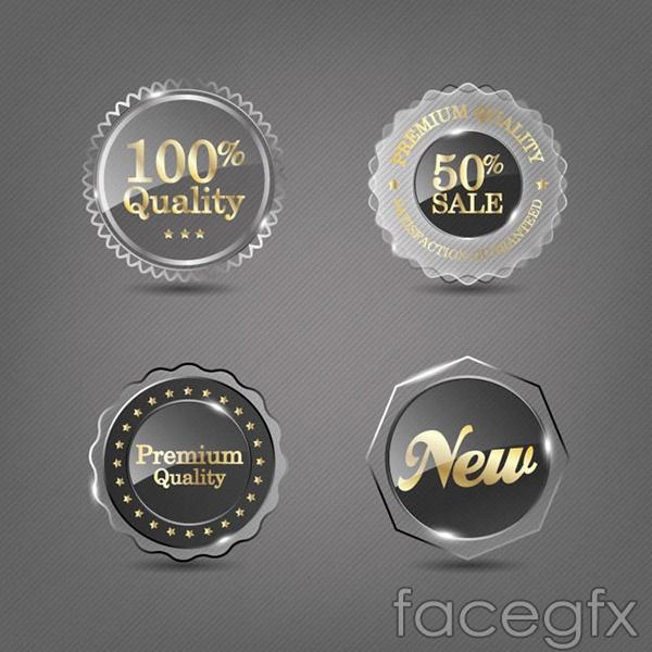 Transparent textures promotional labels vector