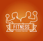 Fitness characters sign vector