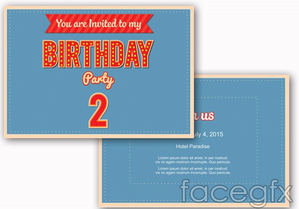 Birthday invitation card templates vector