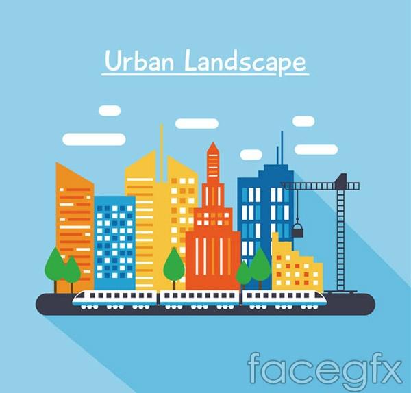 Colorful urban landscape vector