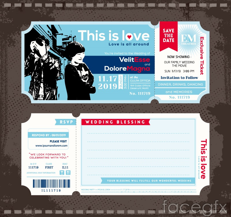 Tickets for the wedding invitation card vector