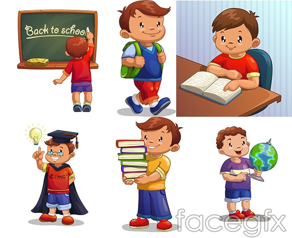 learning cartoon children vector - Free Download Cartoon For Children